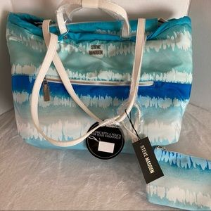 Steve madden bag summer beach tote bag blue new